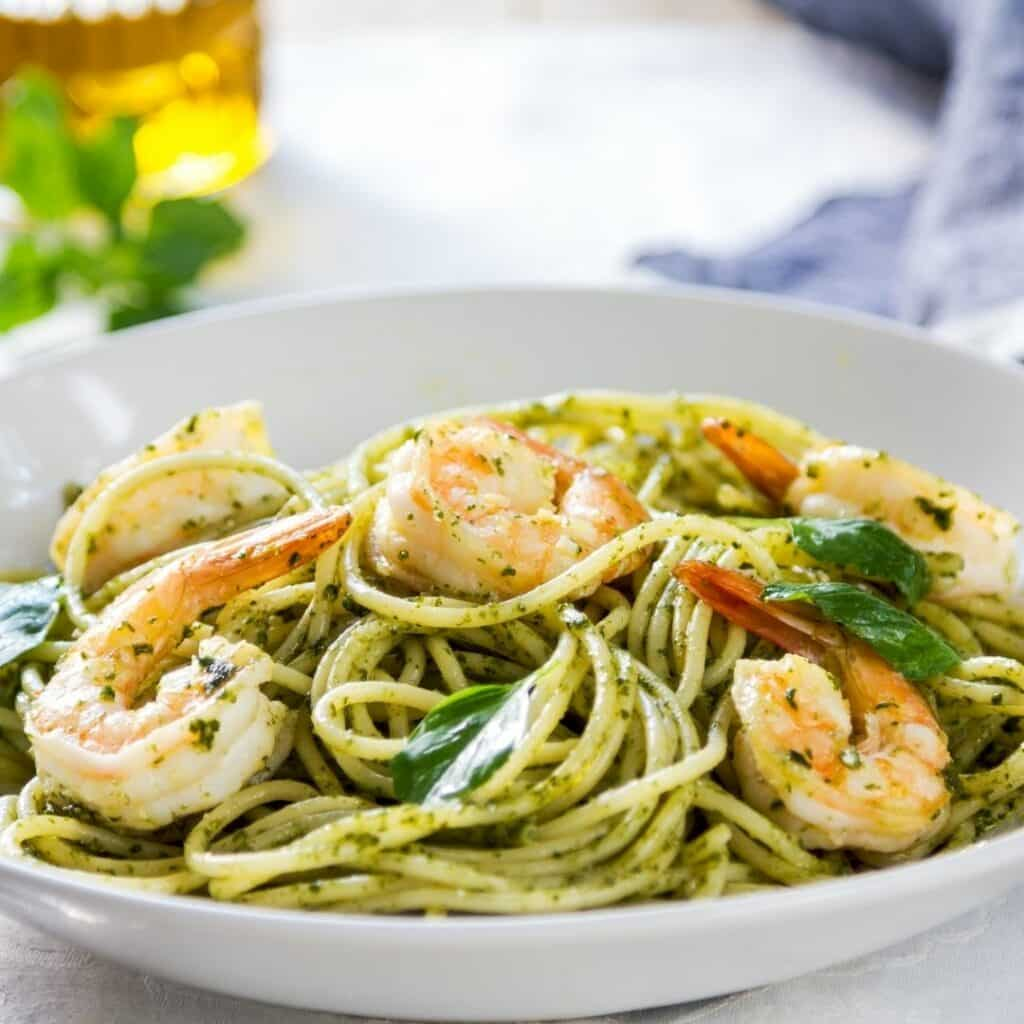 Kirkland Signature Pesto with Shrimp and Spaghetti