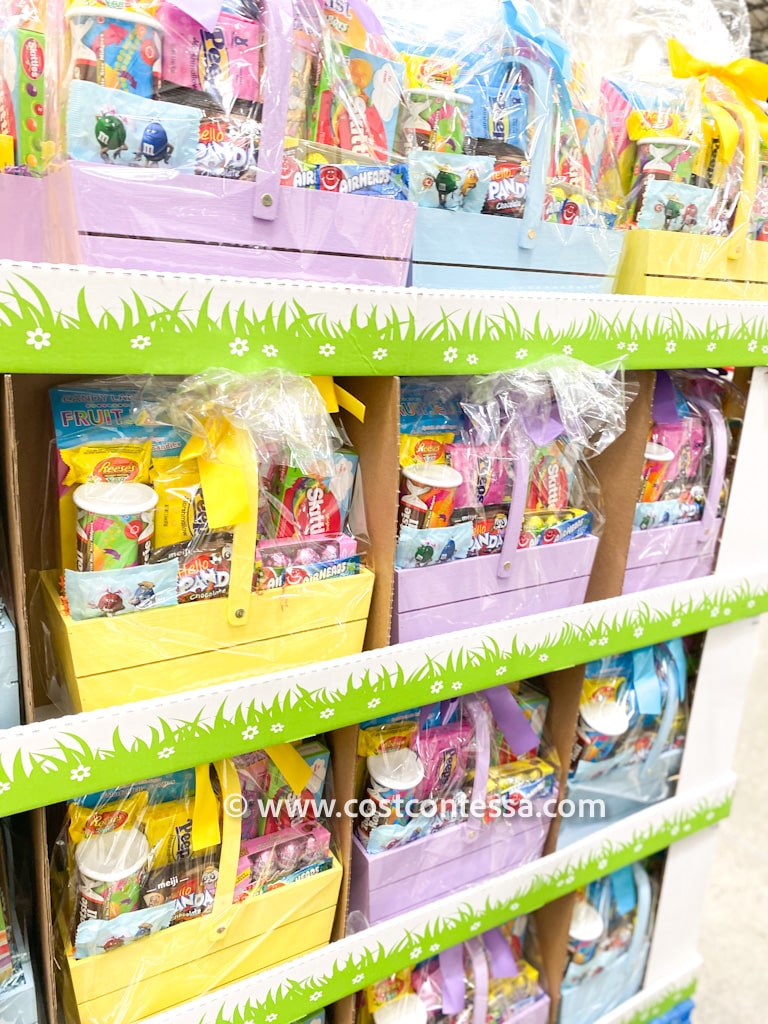 Costco Easter Baskets are pre-made, loaded with candy and come in a colorful wooden basket