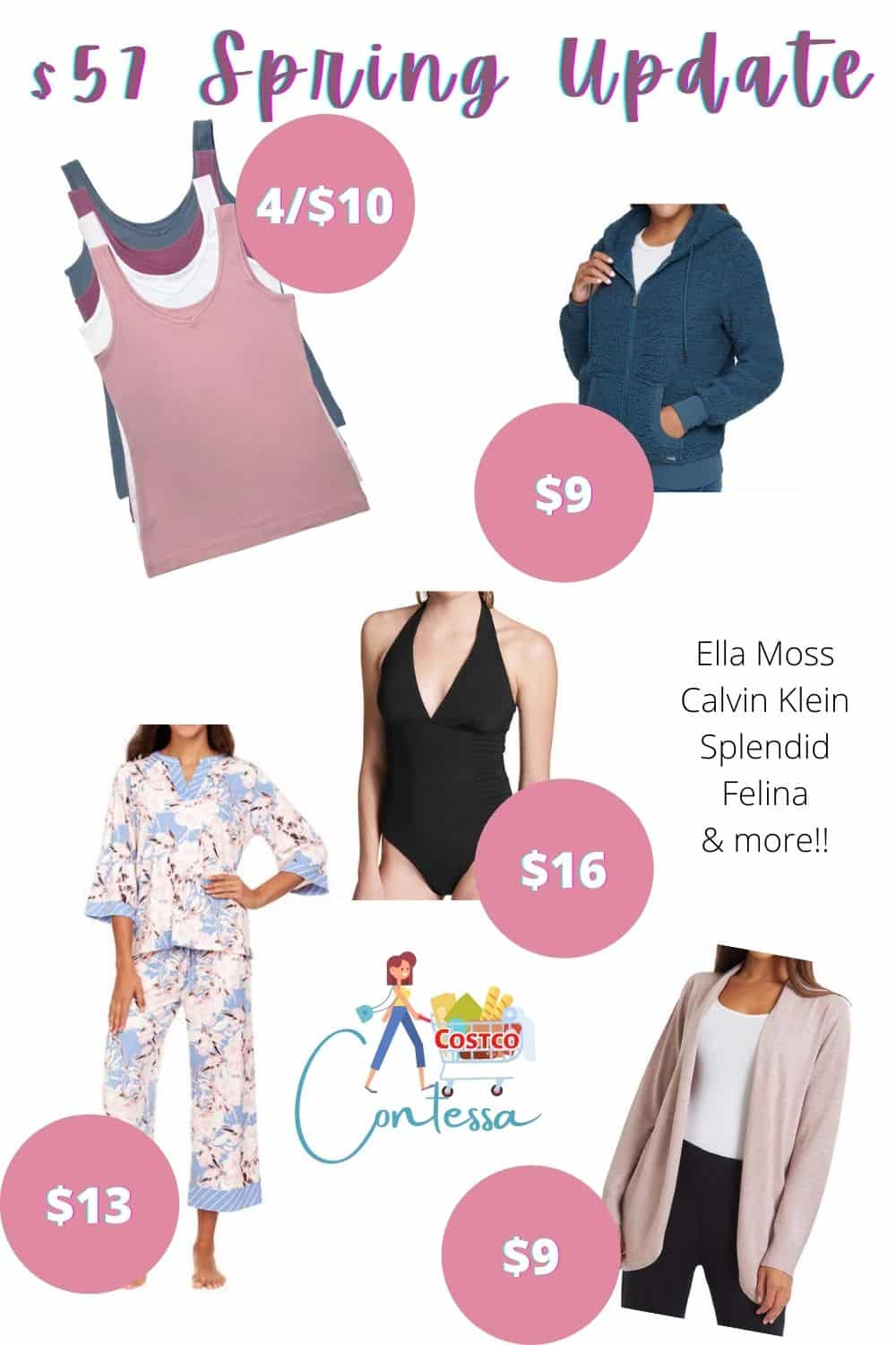 Get this $57 Women's Spring Wardrobe Update! Includes 4 tanks, cozy hoodie, pajamas, swimsuit and cardigan! All 8 pieces for $57 - we'll show you how and where to get this great wardrobe capsule deal! No coupons required!