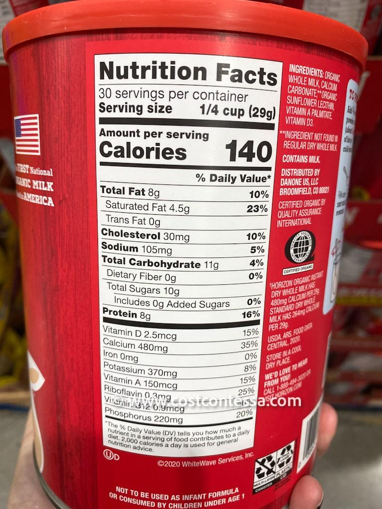 Horizon Organic Powered Milk at Costco - Nutritional Content
