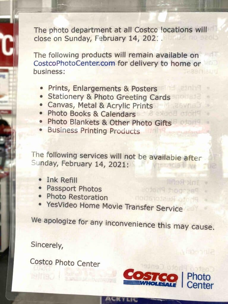 You can no longer get Costco Passport Photos In-Store. Here's the complete list of Costco Photo Center Services you can and cannot get after February 14, 2021.