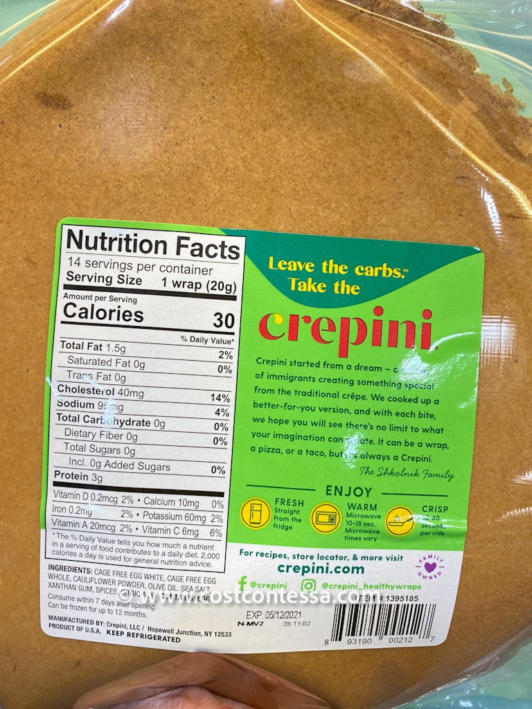The Crepini Cage Free Costco Egg Wraps are super versatile, have 0 carbs, and are both keto and paleo diet compliant (and pretty much any low carb or low calorie food lifestyle for that matter!).
