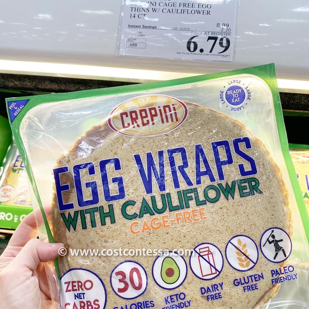 Costco Egg Wraps - Crepini Egg Wraps with Cauliflower and Cage Free Eggs - Gluten Free, Paleo, Keto, Diary Free