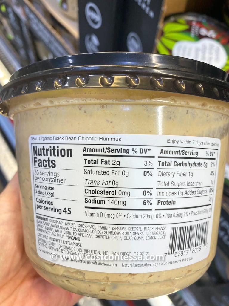 Oasis Craft Kitchen Organic Chipotle Black Bean Hummus at Costco Nutritional Panel