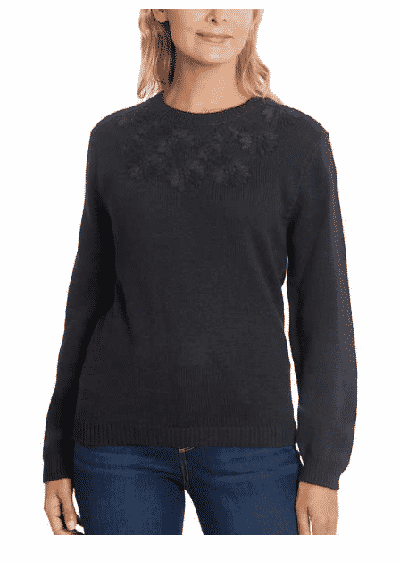 This women's Ella Moss Ladies' Embroidered Sweater from Costco is marked down to $12.97. After the coupon is applied that shakes out to $8.97.