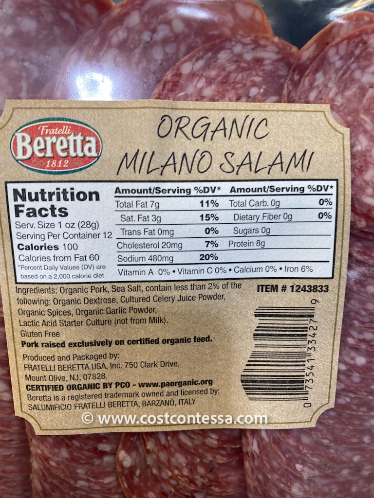 0 Carbs Beretta Uncured Organic Salami at Costco - CostContessa