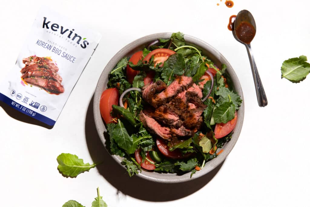 Asian Steak Salad Using Kevin's Korean Keto BBQ Sauce from Costco