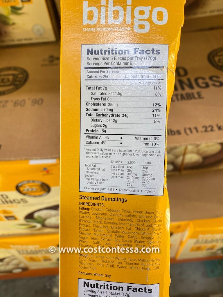 Bibigo Dumplings at Costco - Nutritional Panel