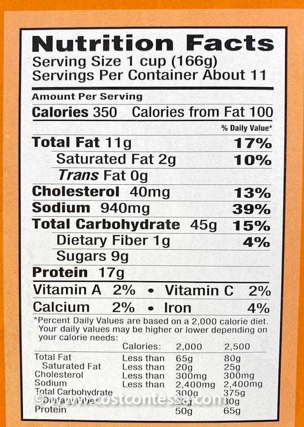 Costco Orange Chicken Nutritional Panel