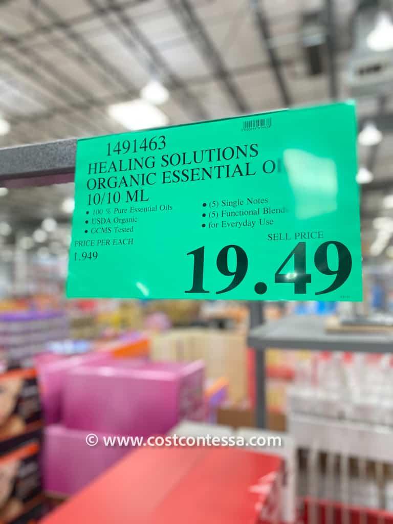 Costco essential oils set from Healing Solutions with 5 essential oil blends and 5 single note essential oils.