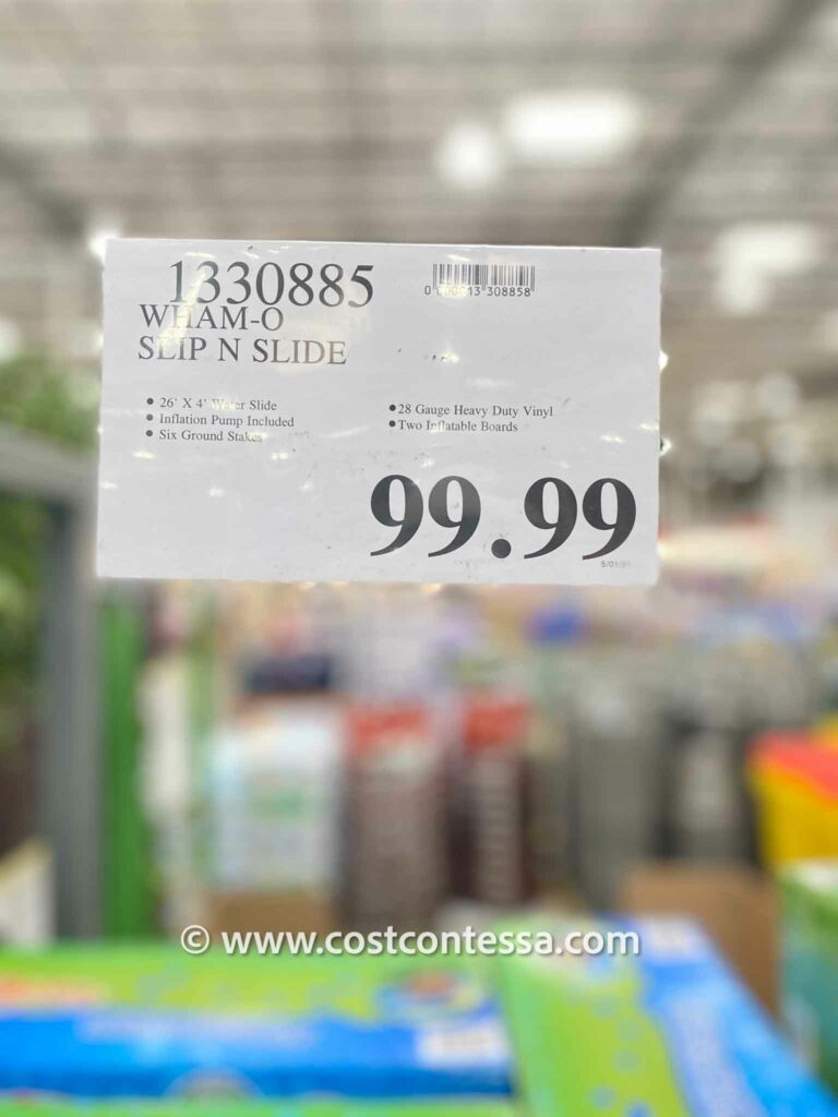 Costco Slip n Slide from Wham-O. Super Version is 26' long with inflatable bumpers, comes with 2 boogie boards. $99