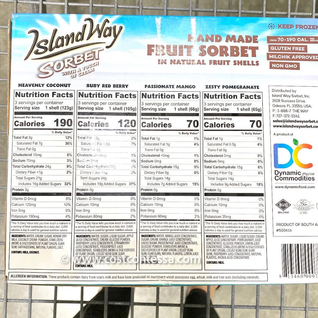 """Island Way Sorbet at Costco - Tropical Fruit Flavored Sorbet Uniquely Served on a real half """"shell"""" of fruit!"""