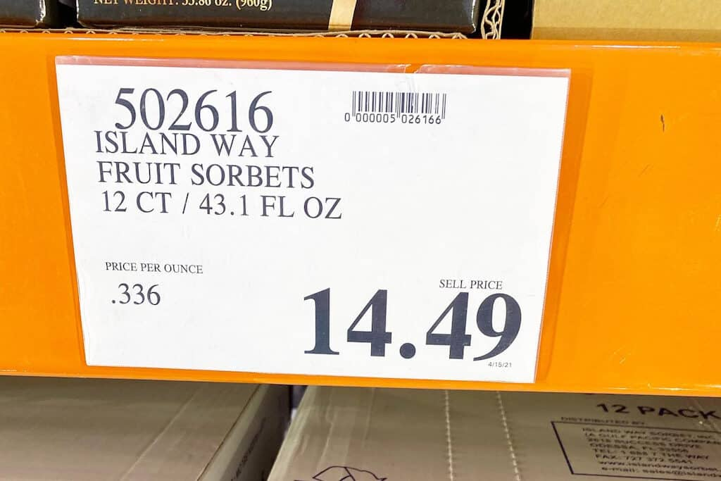 """Island Way Sorbet at Costco - Tropical Fruit Flavored Sorbet Uniquely Served on a half """"shell"""" of fruit!"""
