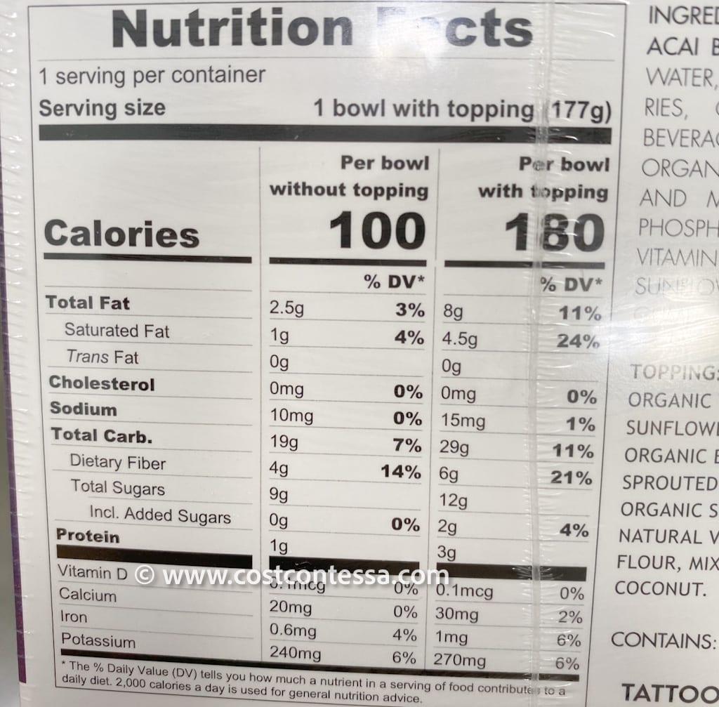 Costco Acai Bowl - Frozen Organic Vegan Treat - Nutritional Panel