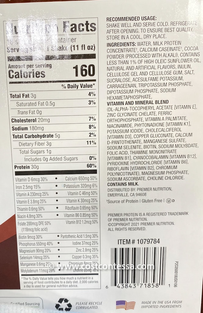 Full of Calcium, B6, B12, C and E Vitamins, Costco Premier Protein chocolate keto-friendly shakes support energy and immune health as well as your overall workout needs.