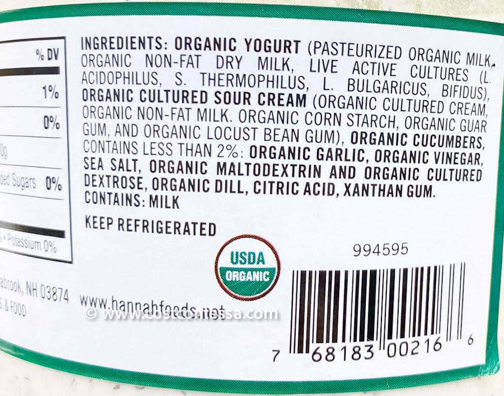 New Organic Tzatziki at Costco - Nutritional Panel - Greek style cucumber yogurt with natural probiotics, calcium, low in carbs, 40 calories