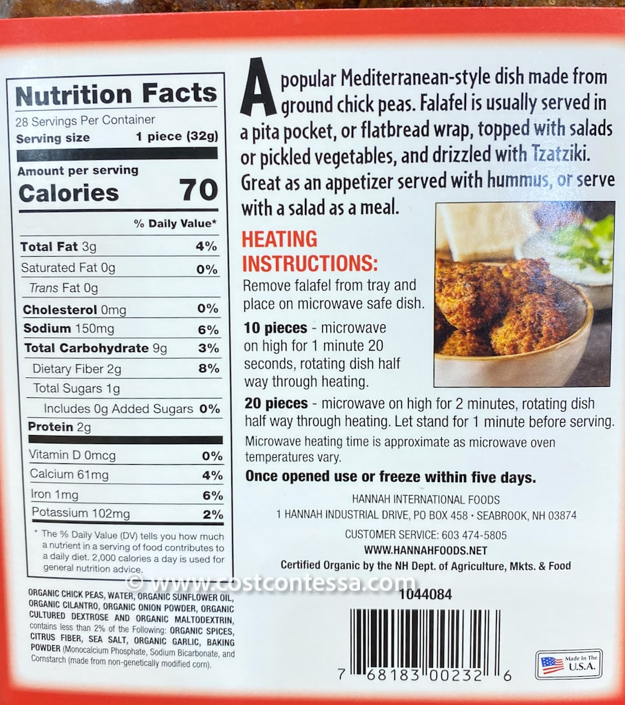 Costco Organic Falafel by Hannah Foods is a good source of both Iron and Calcium!