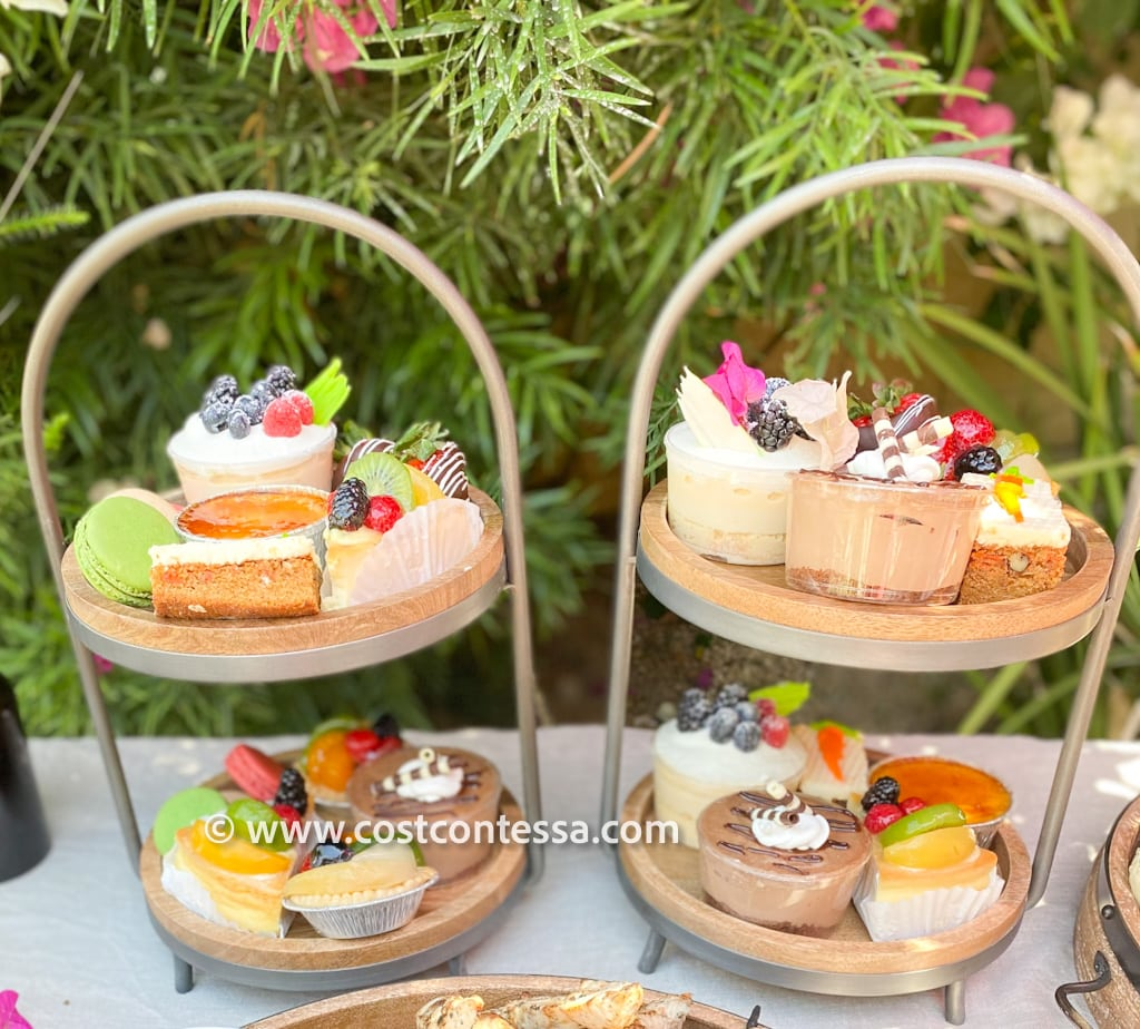 Boho Sunday Dessert Tiered Racks - Gelson's Bakery tarts, macarons, cakes and custards on Cost Plus World Market Wood Tiered Dessert Stands | Complete Boho Budget Brunch Guide at CostContessa.com