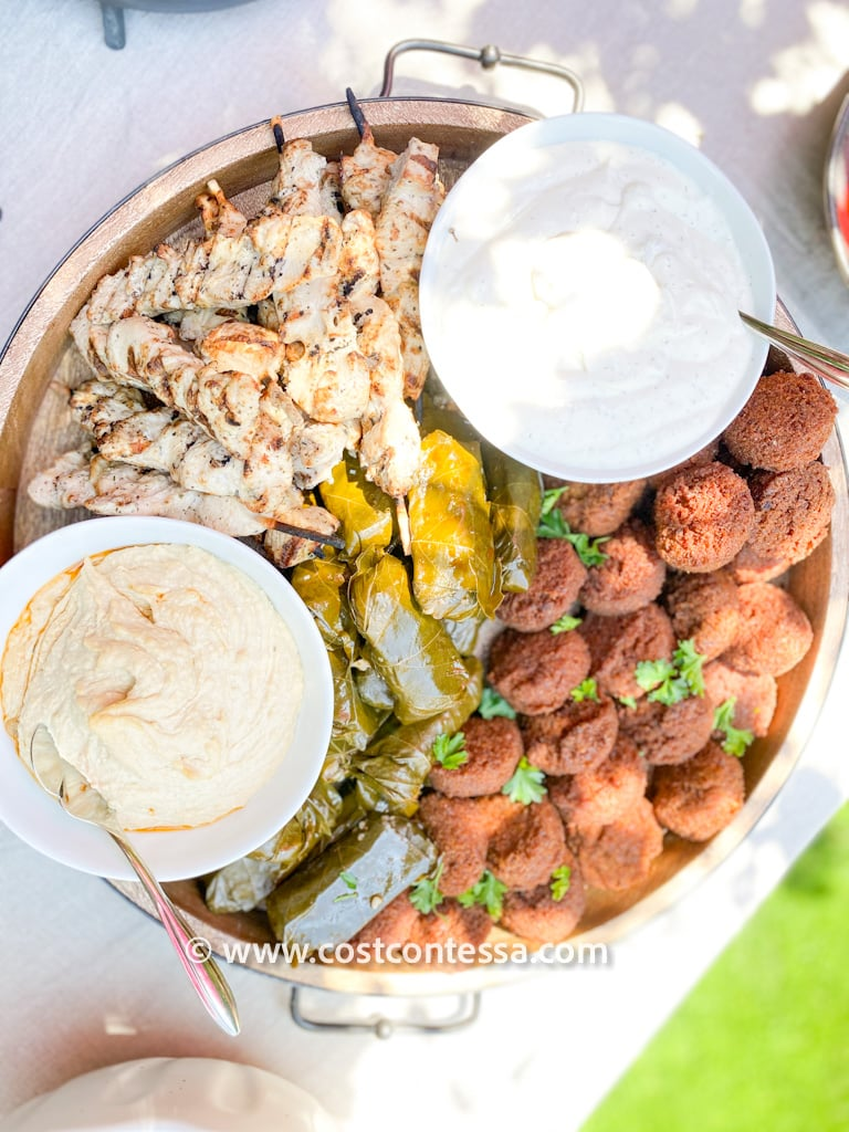 Greek Brunch Board with Falafel, Chicken Skewers, Dolma, Tzatziki and Hummus - All from Costco | Complete Boho Budget Brunch Guide at CostContessa.com