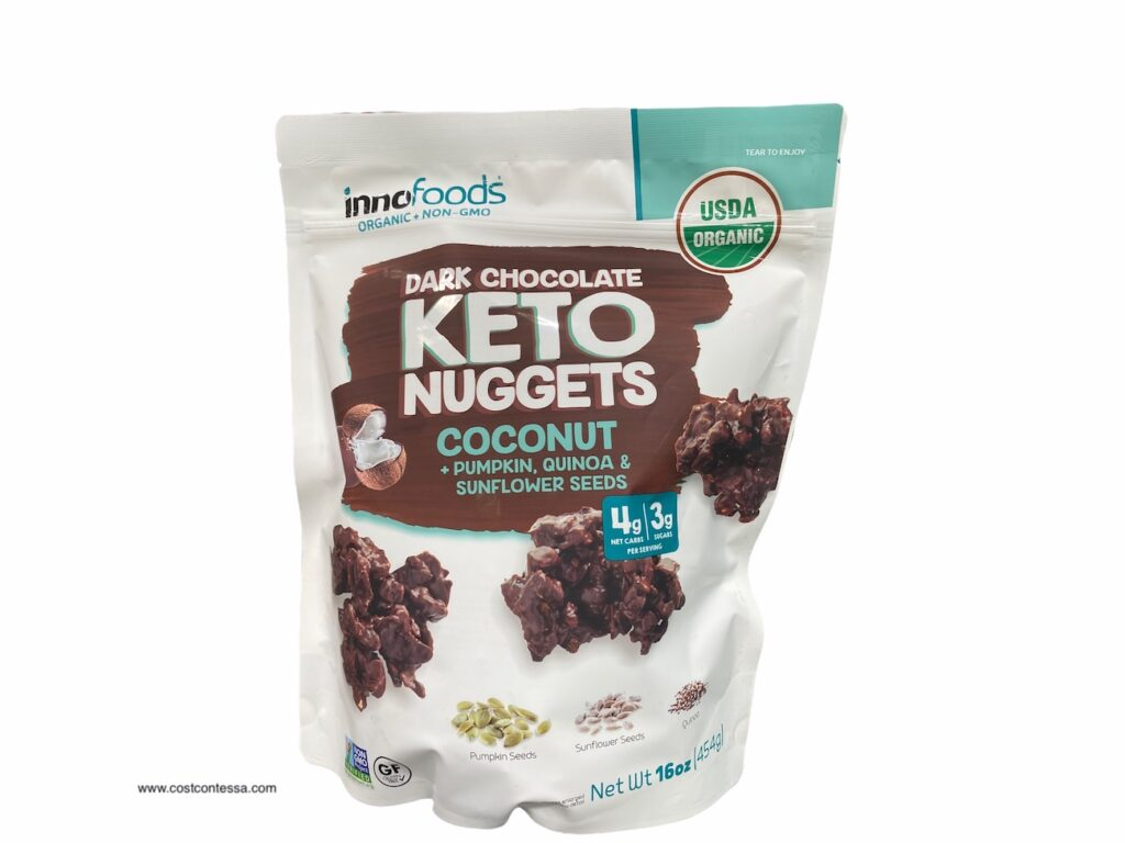 4 NET CARB NEW DARK CHOCOLATE KETO NUGGETS AT COSTCO FROM INNO FOODS