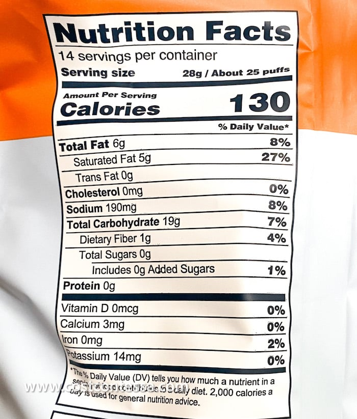 """Lesser Evil Paleo Puffs Nutrition Info for """"No Cheese"""" Cheesiness Paleo Puffs at Costco"""