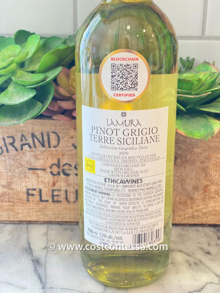 Blockchain Organic Certified Sicilian Pinot Grigio from La Mura