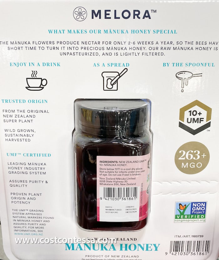 Manuka Honey at Costco - back side of packaging