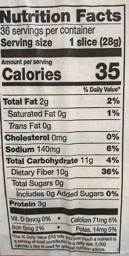 Costco Keto Bread by Artisan Bakery - Nutritional Information - 1 Net Carb