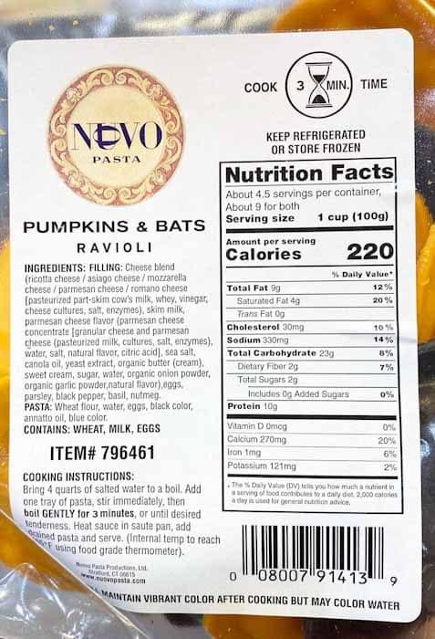 Costco Pumpkin & Bats Halloween Theme Cheese Ravioli from Nuovo Pasta - Nutritional Panel